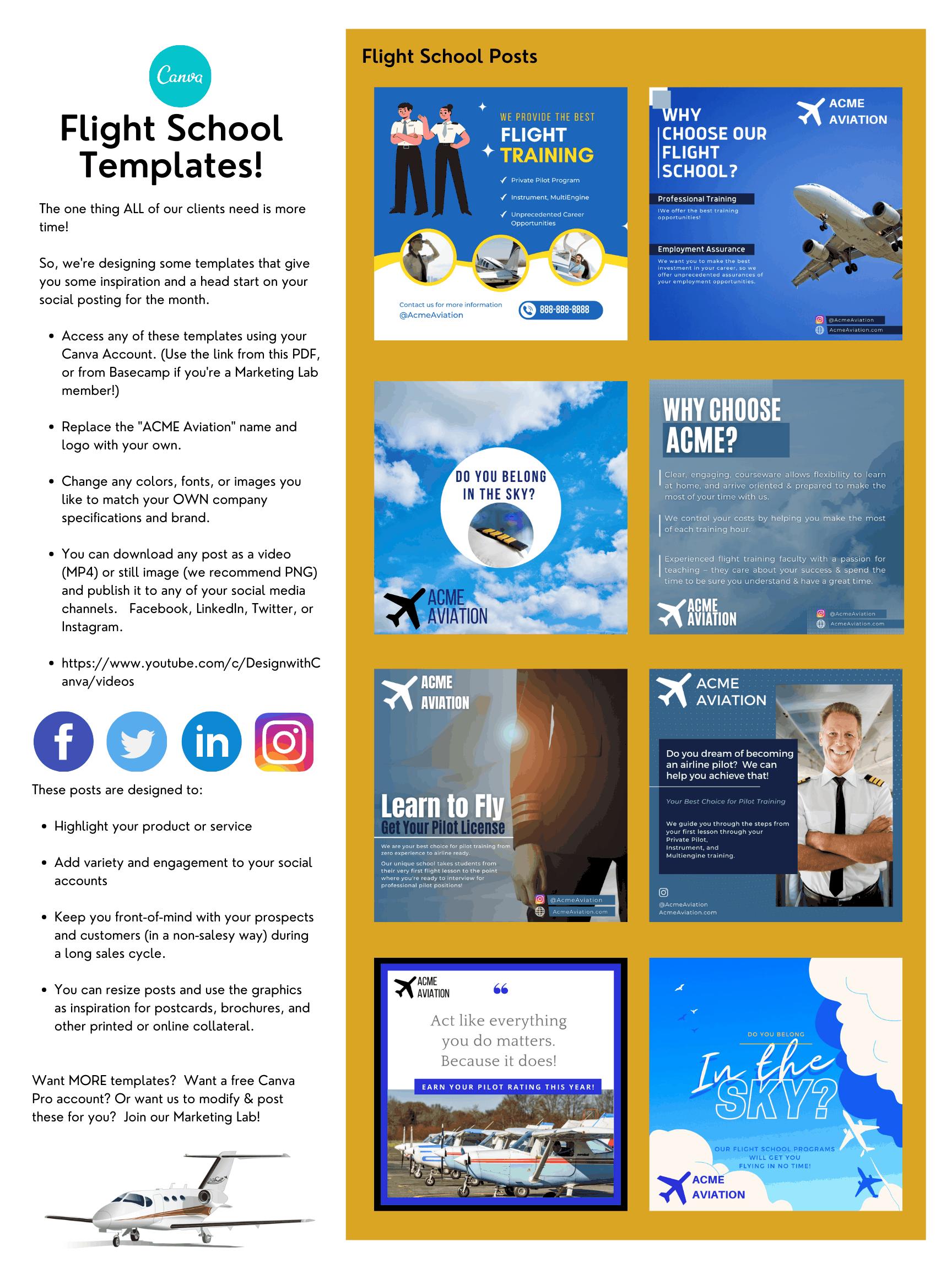 Flight School Template Bundle
