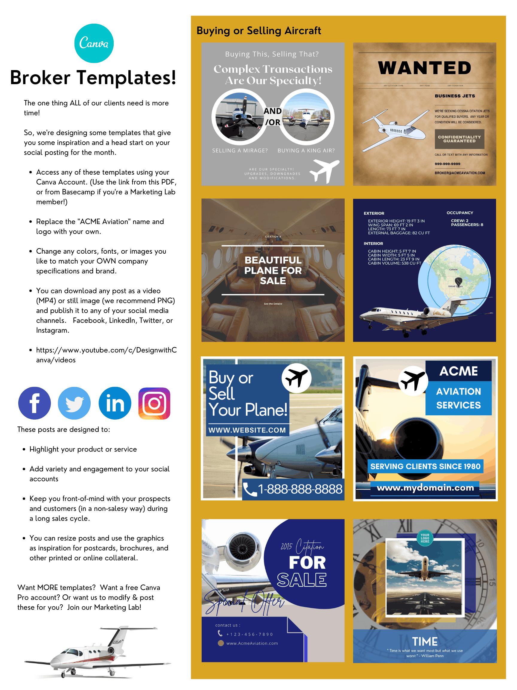 Aircraft Broker Templates